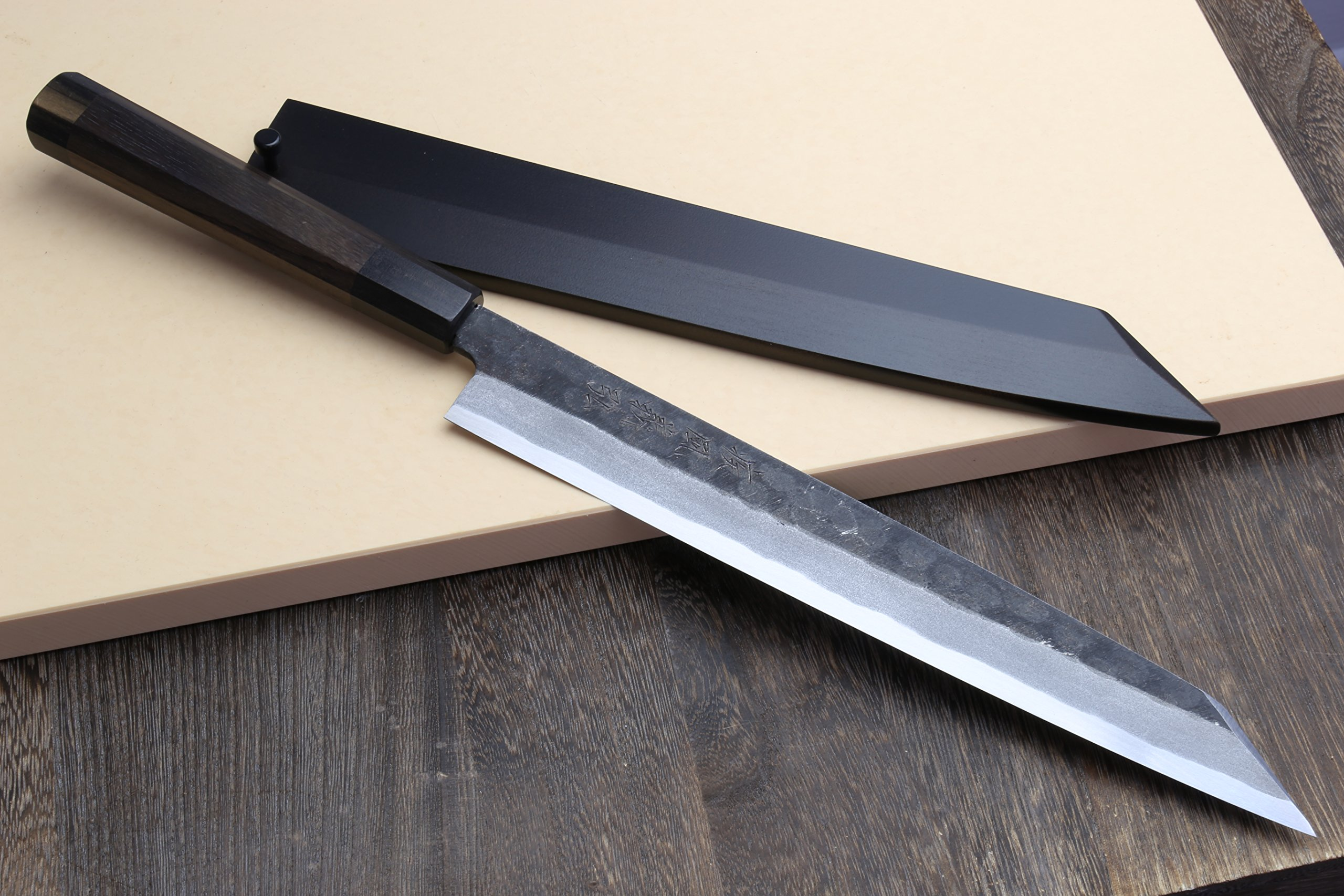 Yoshihiro Hongasumi White Steel Hammered Black Forged Yanagi Kiritsuke Sushi Sashimi Japanese Knife Rosewood Handle with Nuri Saya cover (10.5'' (270mm))