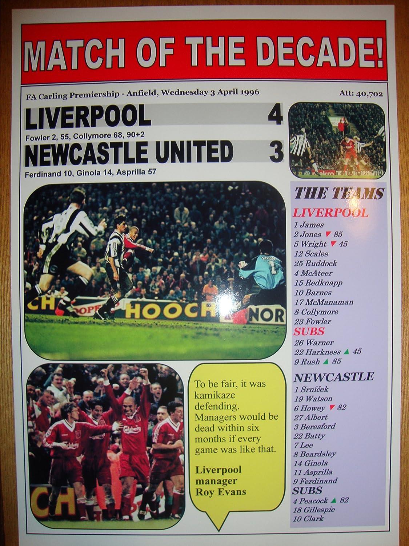 Amazon.com: Liverpool 4 Newcastle United 3 - 1996 - souvenir print:  Everything Else
