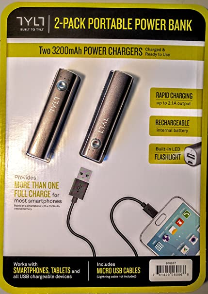 0d87117750a Amazon.com: Tylt Built to Tylt 2 Pack Portable Power Bank: Cell Phones &  Accessories