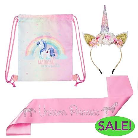 new styles best supplier newest collection HELLO LITTLE MAGICORN - Premium Unicorn Headband – Unicorn Headband, Pink  Birthday Sash, Drawstring Party Bag for Girls - Birthday Unicorn Party ...
