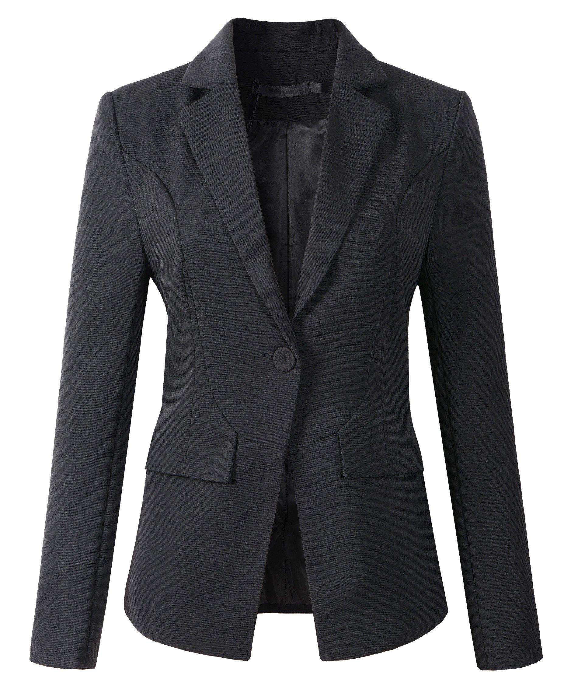 Womens Formal One Button Boyfriend Blazer Jacket (L, 1513Black)