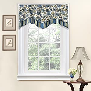 """Traditions By Waverly 14312052016POR Navarra Floral Window Valance, 52"""" x 16"""", Porcelain"""