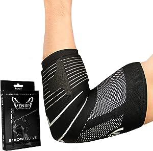 Venom Strapped Elbow Brace Compression Sleeve - Elastic Support, Tendonitis Pain, Tennis Elbow, Golfer's Elbow, Arthritis, Bursitis, Basketball, Baseball, Golf, Lifting, Sports, Men, Women