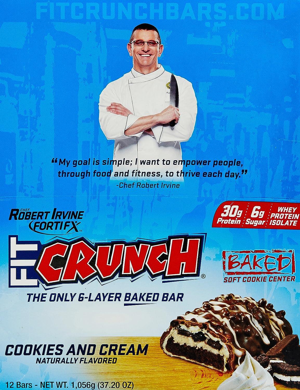 Chef Robert Irvine FortiFX - Fit Crunch Protein Bar Cookies and Cream - 88 Grams by Robert Irvine FortiFx: Amazon.es: Alimentación y bebidas
