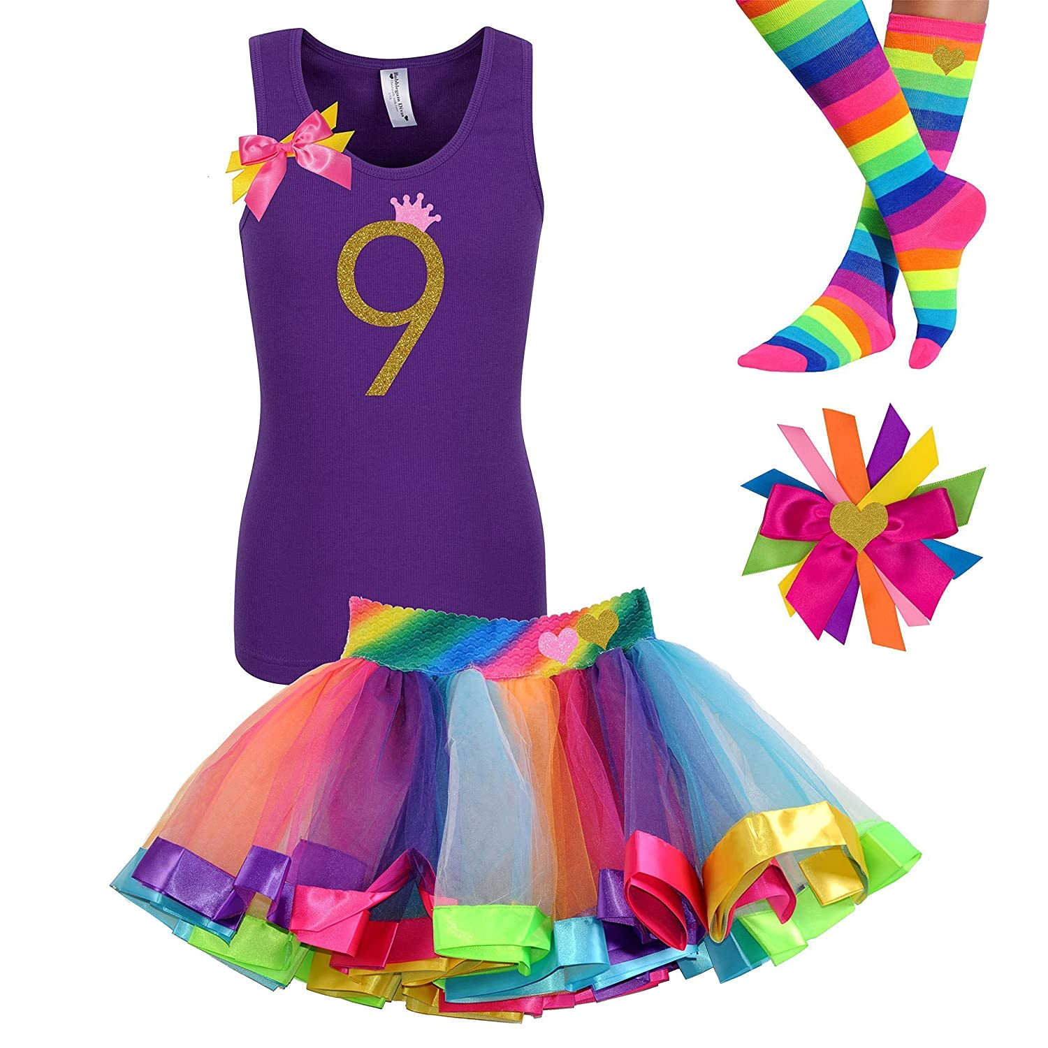 9th Birthday Shirt Rainbow Tutu Girls Party Outfit 4PC Gift Set ...
