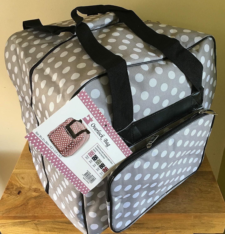 Hemline Dotty Serger Overlock Bag in Grey Polka Dot