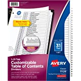 Avery 1-31 Tab Dividers for 3-ring Binders, Customizable Table of Contents, Classic White Tabs, 1 Set (11128), Black/White