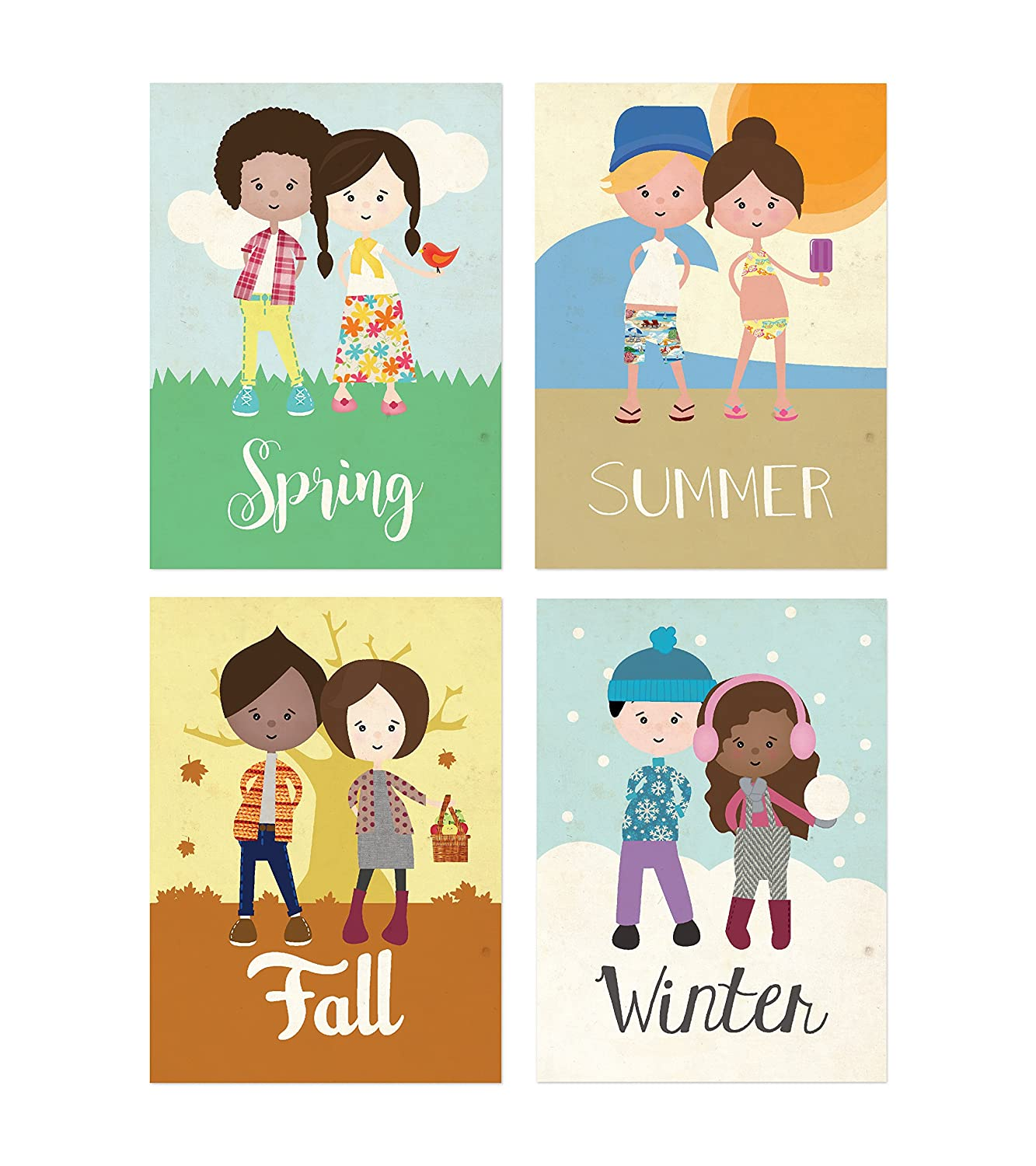 Amazon.com: Four Seasons Wall Cards 5x7 inches, Decoration Wall ...