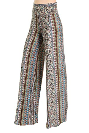 Los Angeles Women's Fold-over Waist Printed La Palazzo Pants (S, OLIVE2)