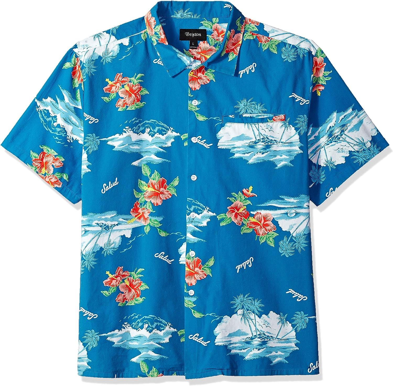Brixton Hombre Manga Corta Camisa de Botones - Azul - Medium: Amazon.es: Ropa y accesorios