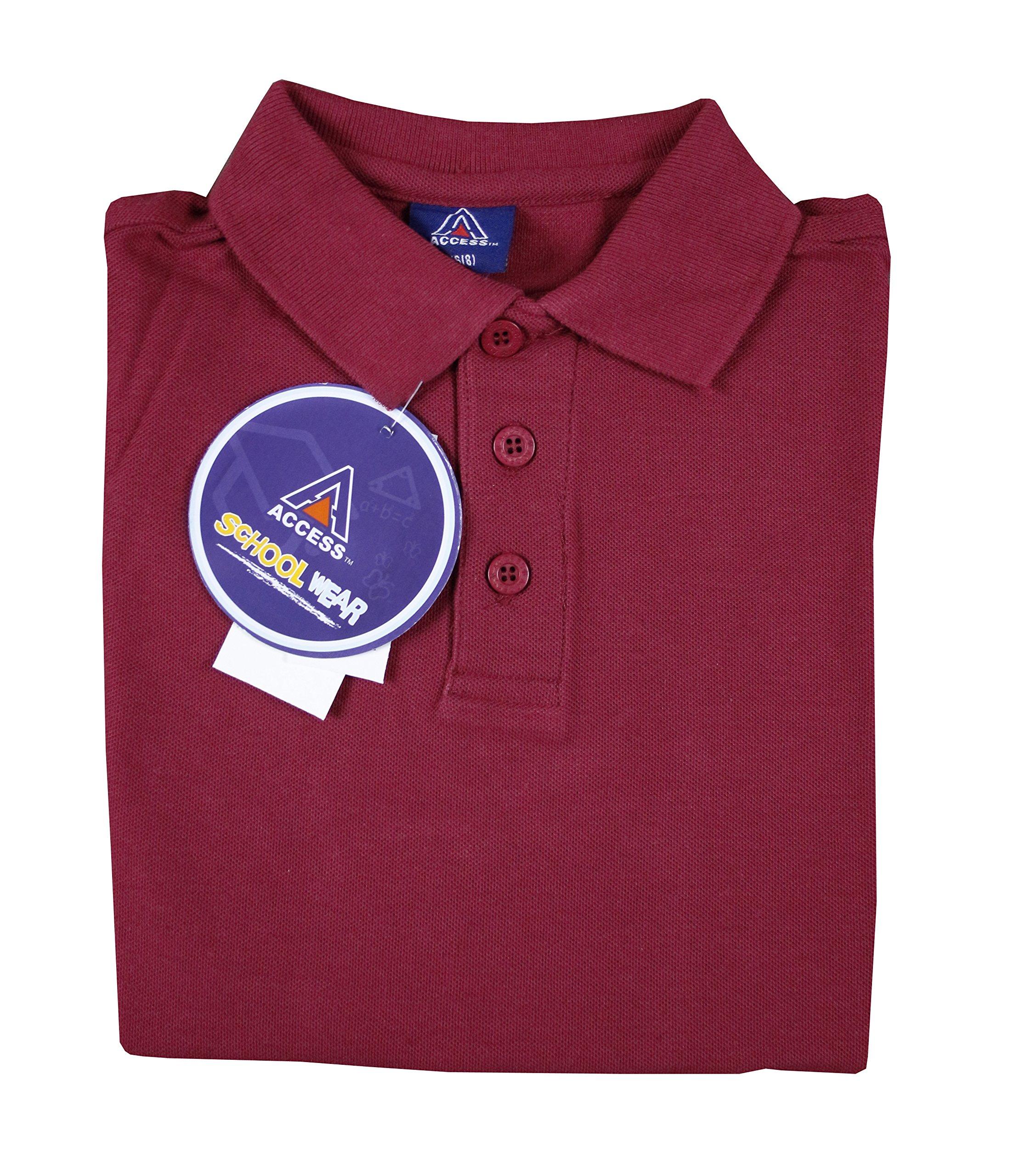 Access Unisex Kid's Short Sleeve School Uniform Pique Polo Burgundy M (10/12)