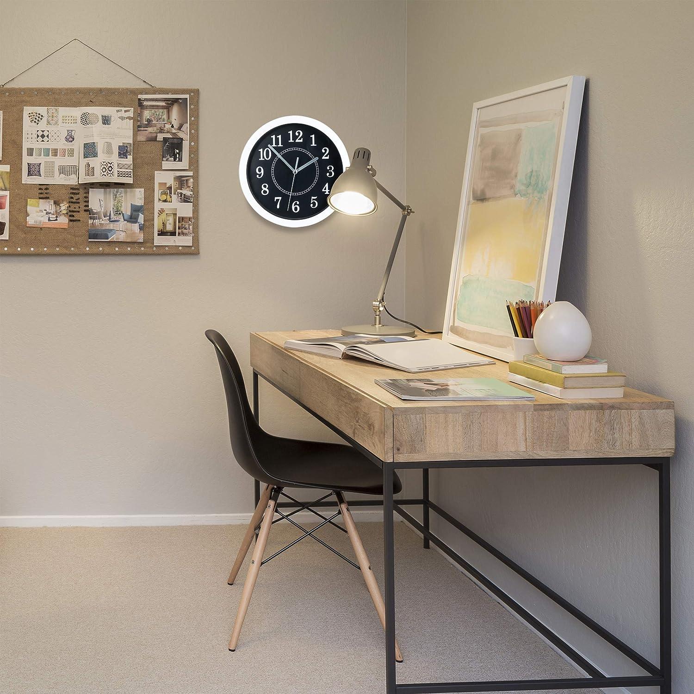 a Batteria Rotondo Relaxdays Orologio da Parete Design Classico da Appendere al Muro /Ø 20 cm Bianco