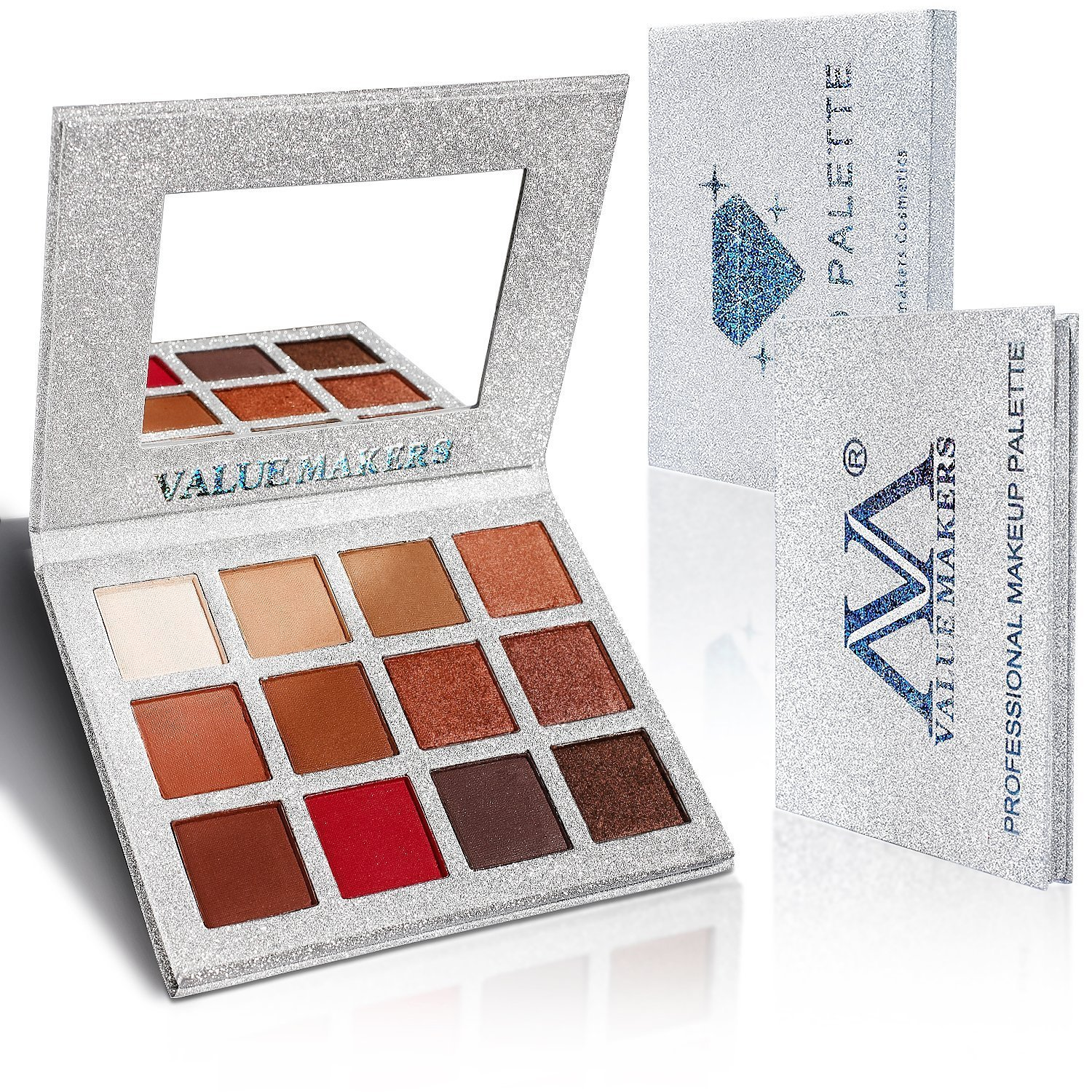 Eyeshadow Makeup Palette, Valuemakers 12 Colors Waterproof & Ultra Pigmented Make-up Eye Shadows - Matte and Shimmer EyeShadow Powder Cosmetic Makeup Set- Vegan and Cruelty Free