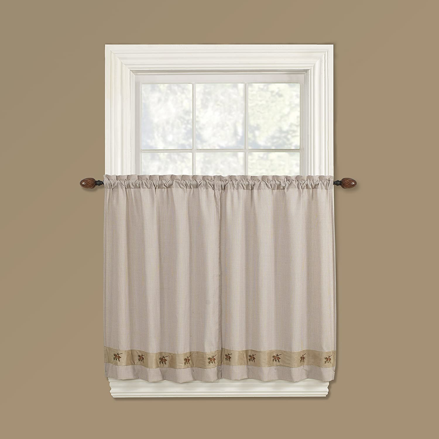 Embroidered Mini-Plaid Valance - Perfect Plaid Curtain for Kitchen, Bathroom, and Bedroom - Small Check Plaid with Acorn Embroidery (60 x 12 Valance, Green) GPD FBA_0956060012GRN