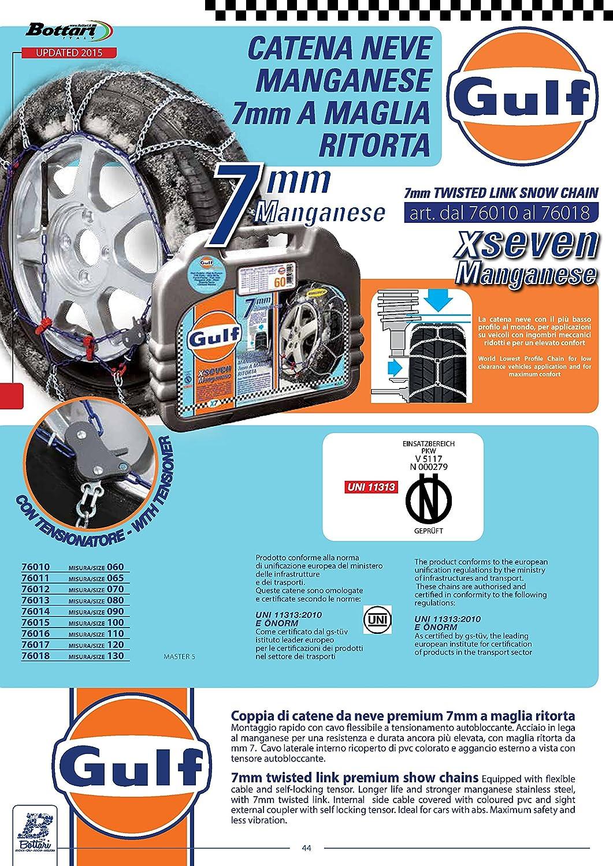 Talla 065 Primera calidad Homologaci/ón TUV y GS /ÖNORM Gulf 76011 X7 Cadenas de nieve 7 mm para coche