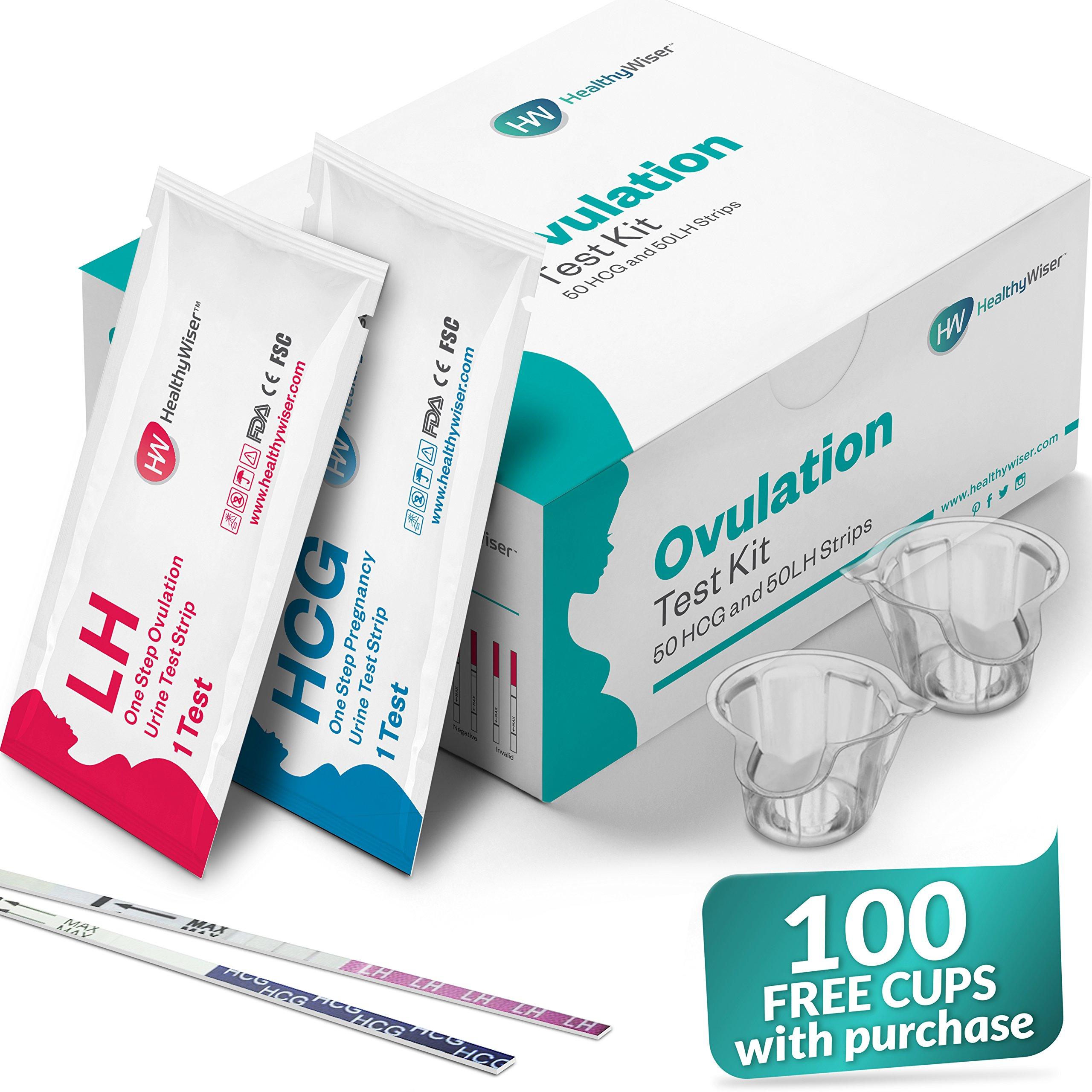 Pregnancy Test Kit, 50 Ovulation and 50 Pregnancy Test Strips, Monitor & Track Fertility, Predictor Kit, Clear & Accurate Results, LH & HCG Urine Strips, Gifts For Your Fertile Days, Ovulation Tracker by HealthyWiser