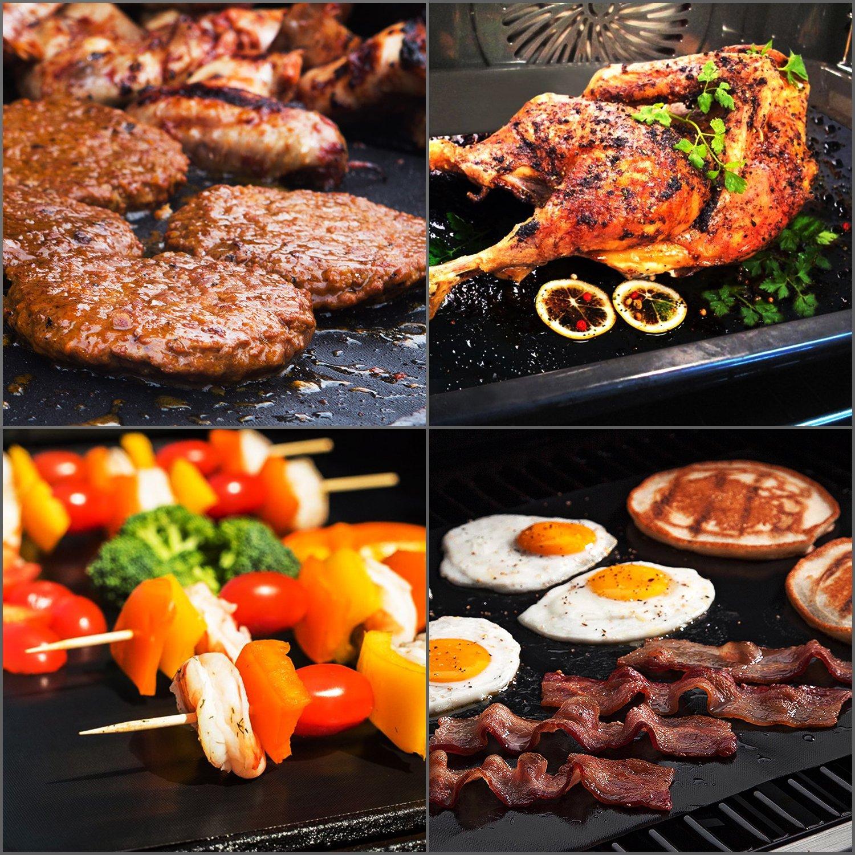 VEAMA BBQ Alfombrilla para grill, 3 Piezas Láminas Antiadherentes láminas Resistentes al calor para horno, grill, parrilla y barbacoa 16x13