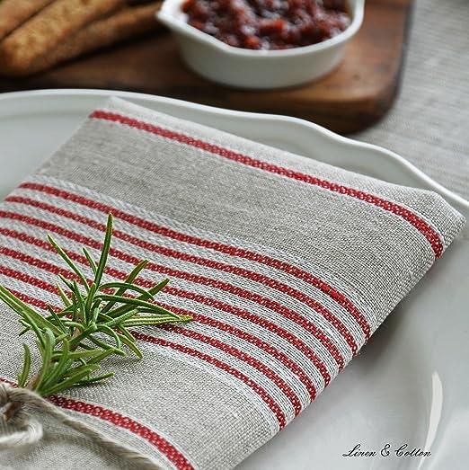 Linen & Cotton Juego de 4 Servilletas de Tela ULLA de 100% Lino (43 x 43cm, Beige/ A Rayas Rojo): Amazon.es: Hogar