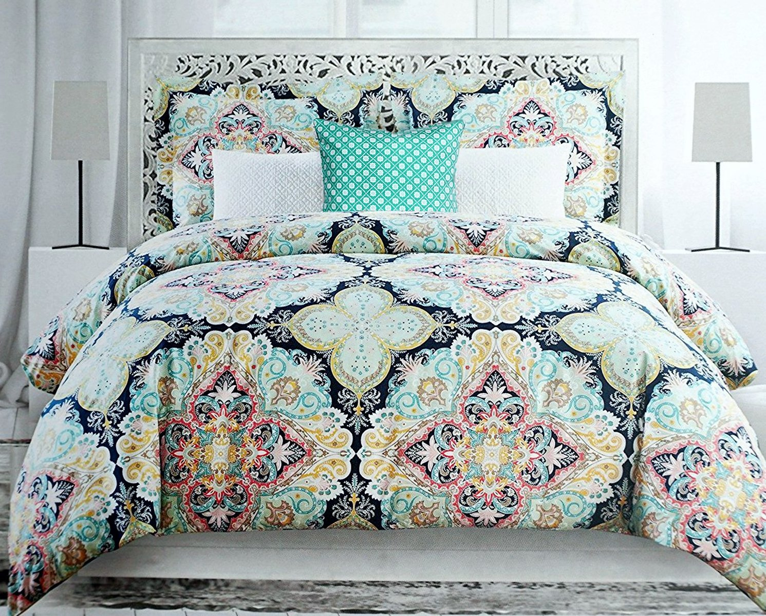 Envogue Colorful Boho Chic Bedding Bohemian Large Moroccan Medallions Duvet Cover Shams Bedding 4pc Set