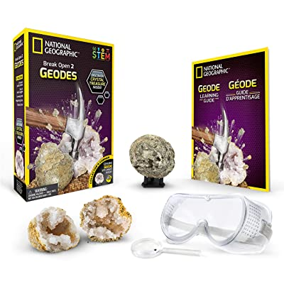 NATIONAL GEOGRAPHIC Break Open 2 Geodes Science Kit – Includes Goggles, Detailed Learning Guide and Display Stand - Great STEM Science gift for Mineralogy and Geology enthusiasts of any age: Toys & Games