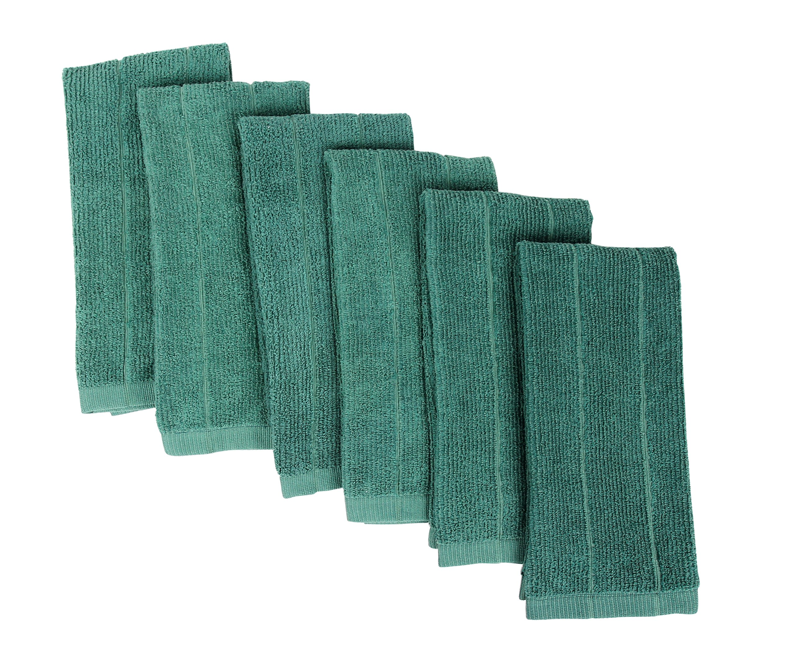 Fabbrica Home Rayon Made From Bamboo Kitchen Drying Towels Patented Everplush Technology (6, Green)