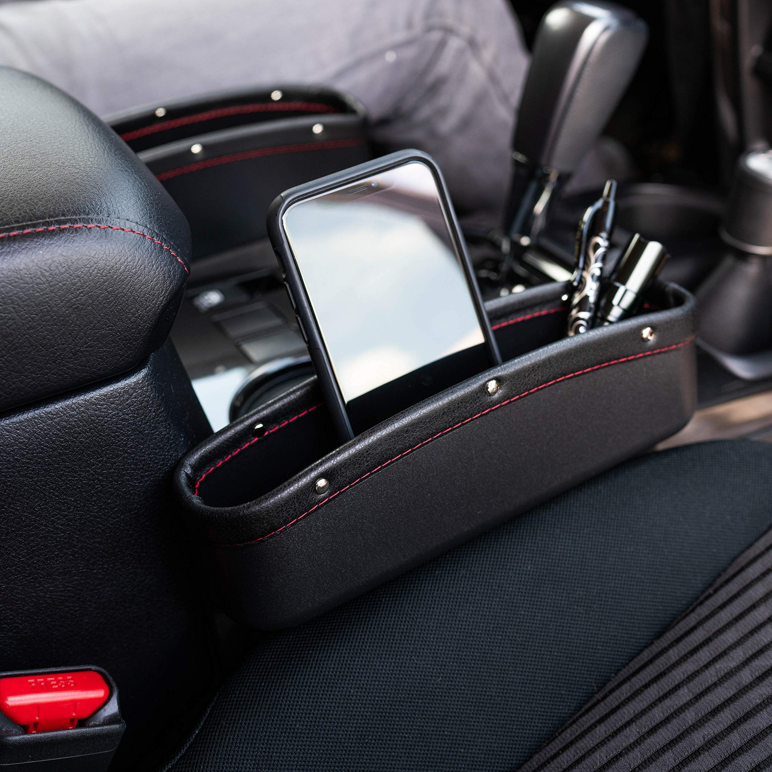 ONE Seat Gap Holder-Filler Pockets Car Free Emergency Flashlight, Premium PU Leather Car Organizer Pocket Easy Access to Phone Small Items
