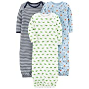 Simple Joys by Carter's Baby Boys' 3-Pack Cotton Sleeper Gown, Blue/White, 0-3 Months
