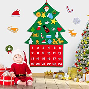 rolimate Felt Christmas Tree Ornaments, Christmas Advent Calendar 2020, 24 Days Countdown Calendar with 24 PCS Detachable Ornaments for Home Classroom Handmade Door Wall Hanging Decor