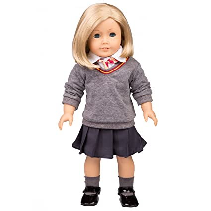 Dress Along Dolly Hermione Granger Inspired Doll Clothes For American Girl Dolls 6pc Hogwarts Like School Uniform Shirt Skirt Sweater Tie Socks