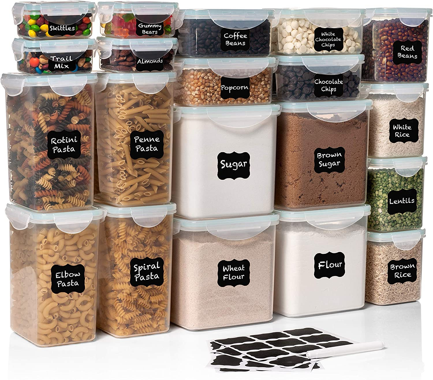 40 PC WIDE DEEP Food Storage Containers - Sugar, Flour Plastic Containers 40 pc (set of 20) - 36 FREE Labels & Marker - Airtight, Leakproof, BPA Free - Microwave, Freezer & Dishwasher Safe