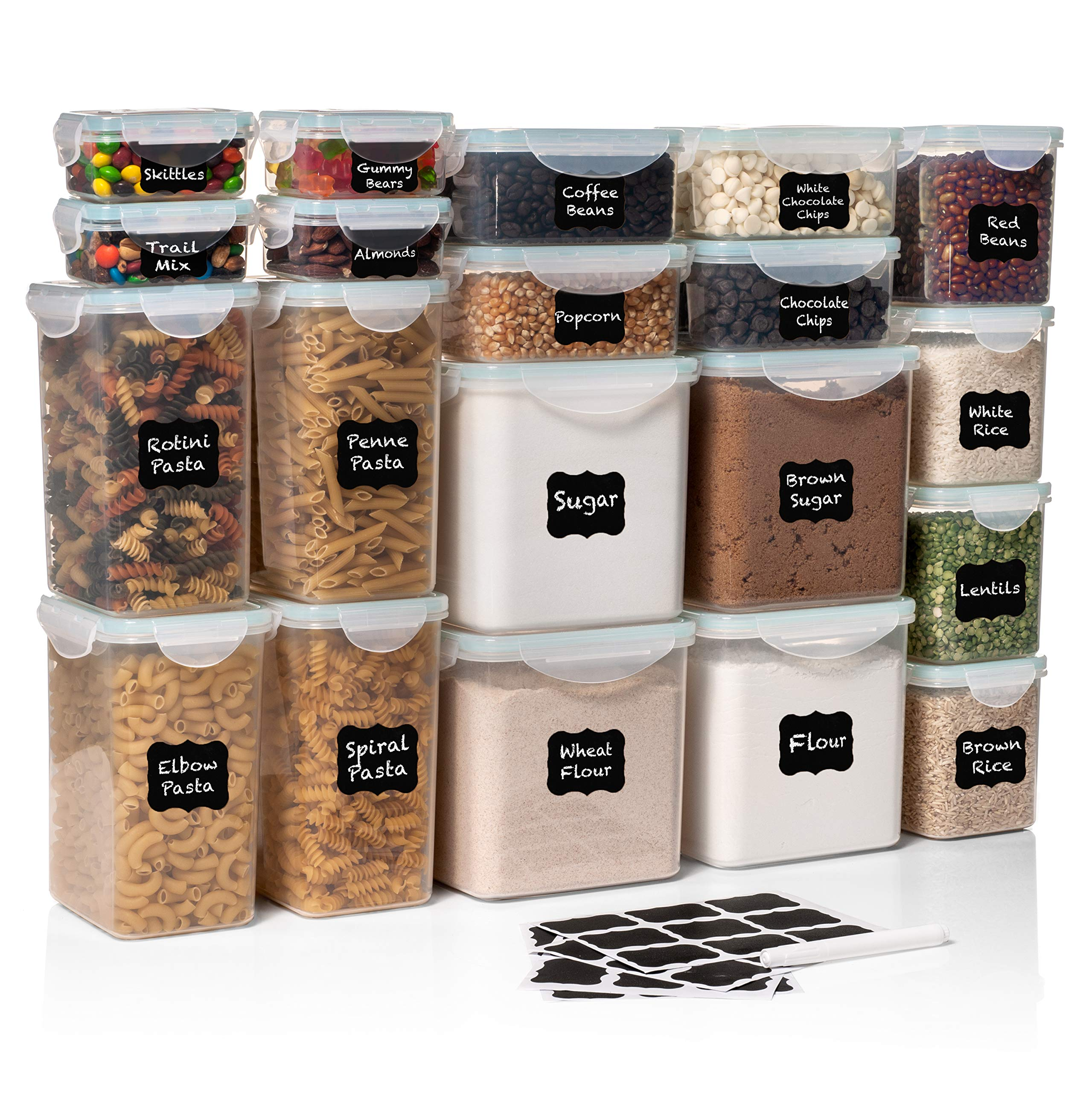 40 PC WIDE DEEP Food Storage Containers - Sugar, Flour Plastic Containers 40 pc (set of 20) - 27 FREE Chalkboard labels & Marker - Airtight, Leakproof, BPA Free - Microwave, Freezer & Dishwasher Safe