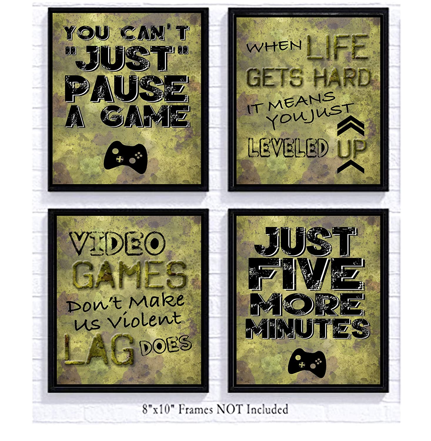 Video Game Themed Art Print Room Wall Decoration (Set or Four) Gamer (Camo)