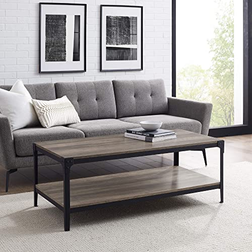 Walker Edison Declan Urban Industrial Angle Iron and Wood Coffee Table - the best living room table for the money