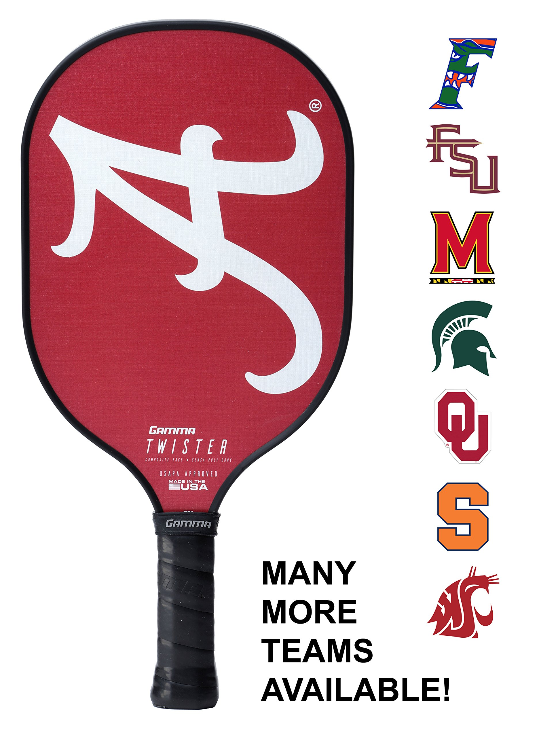 Gamma Collegiate Twister Composite Pickleball Paddle: Pickle Ball Paddles for Indoor & Outdoor Play - USAPA Approved Racquet for Adults & Kids - Alabama Crimson Tide