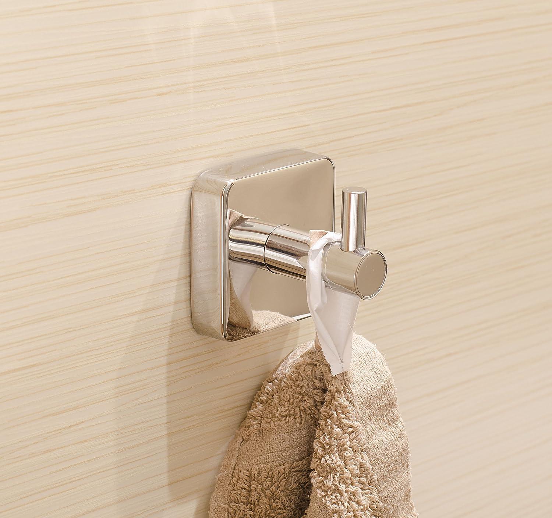 Kapitan Quattro Salle de bain Crochets Serviettes Auto-adh/ésif Acier Inoxydable fini poli Garantie 20 ANS fabriqu/é dans lUE