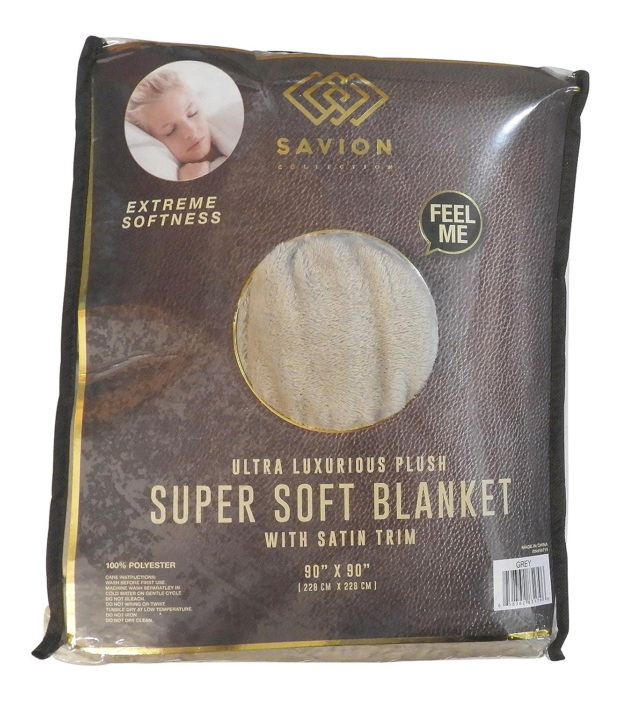 "Savion Collection Ultra Luxurios Plush Solid Velvet Velour Blanket King Size 90"" x 90"" with Satin Trim (Gray)"
