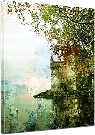 Bilderdepot24 Cuadros en Lienzo Lámina Reproducción Acuarela Castillo en el Lago 50 x 60 cm - Listo tensa, Directamente Desde el Fabricante: Amazon.es: Hogar