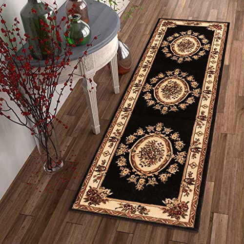 """Pastoral Medallion Black French European Formal Traditional 3x12 2'7"""" x 12' Runner Rug Stain / Fade Resistant Contemporary Floral Thick Soft Plush Hallway Entryway Living Dining Room Area Rug"""