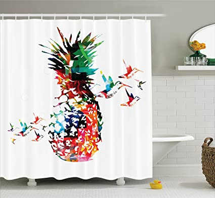 Ambesonne Pineapple Shower Curtain Geometric Bursting Into Scattering Birds Flight Modern Abstract Print