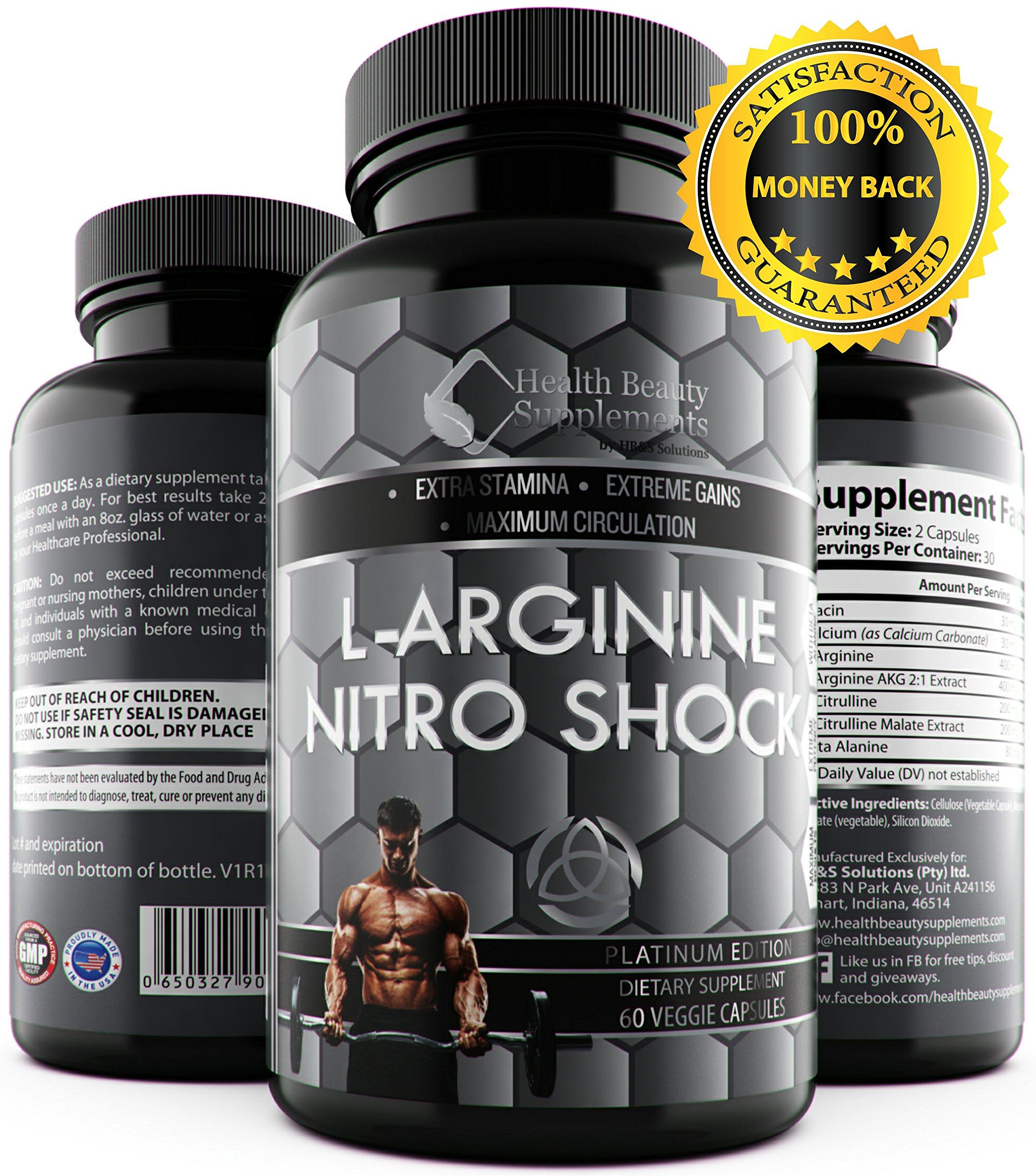 * MUSCLE PHASE L-ARGININE NITRO SHOCK PLUS * Advanced Formula Enhances Muscle Growth – Increase Stamina & Energy – Max Bio-Availability Max Blood Circulation - With Beta Alanine -