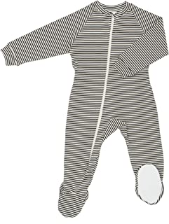 product image for CastleWare Baby- Organic Cotton- Rib Knit-Footie Pajama (2T, Charcoal Grey Stripe)