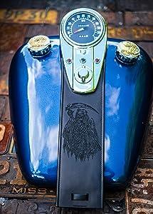 Black Grim Reaper Death 3 Light Dash Leather Gas Tank Panel Bib Harley Davidson