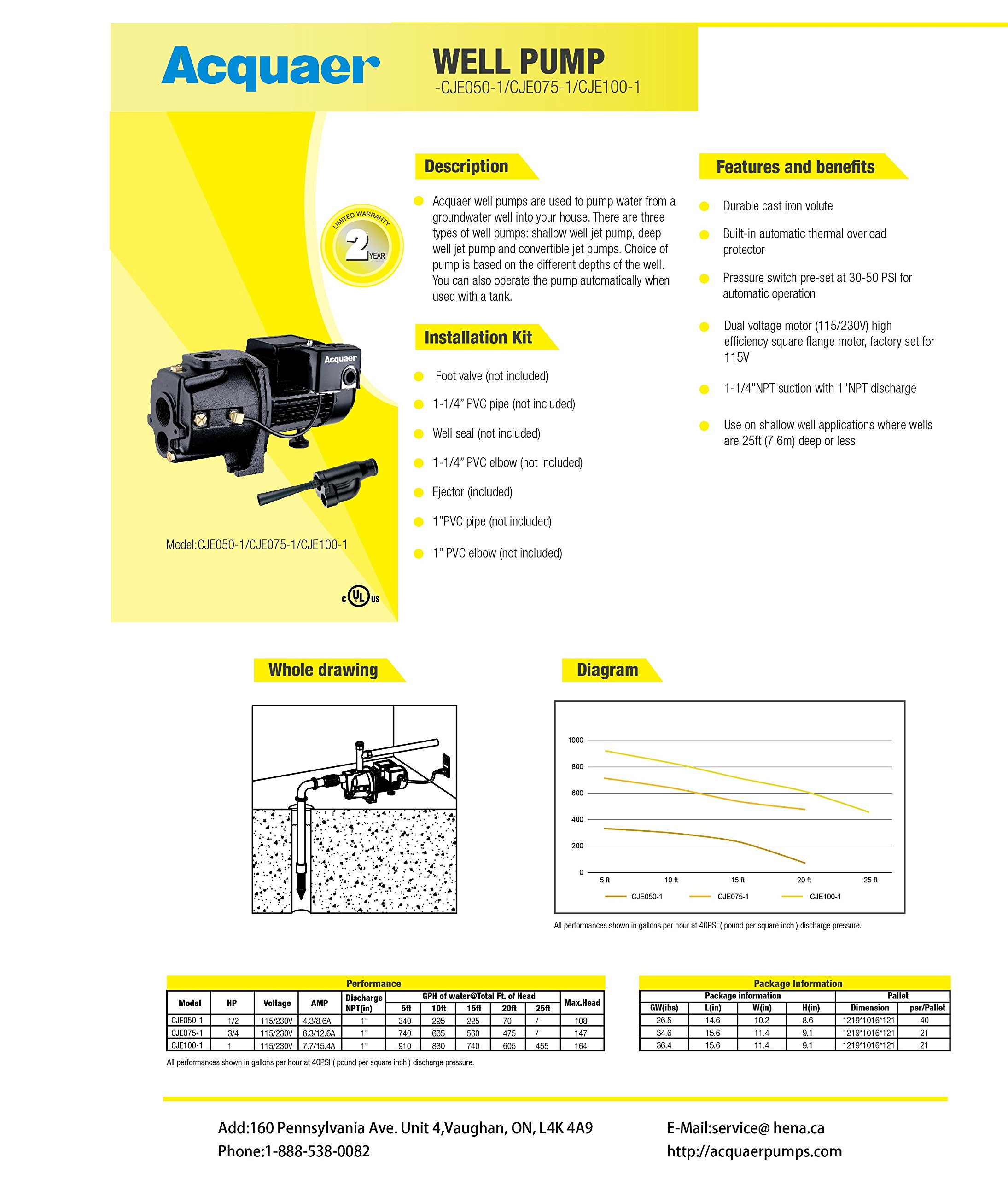 Acquaer 1 HP Dual-Voltage Durable Cast iron Convertible Deep WellJet Pump With Injector kit by Acquaer