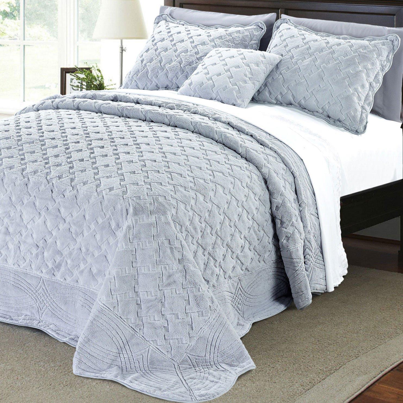 Serenta Faux Fur Quilted Tatami 4 Piece Bedspread Set, Queen, Grey