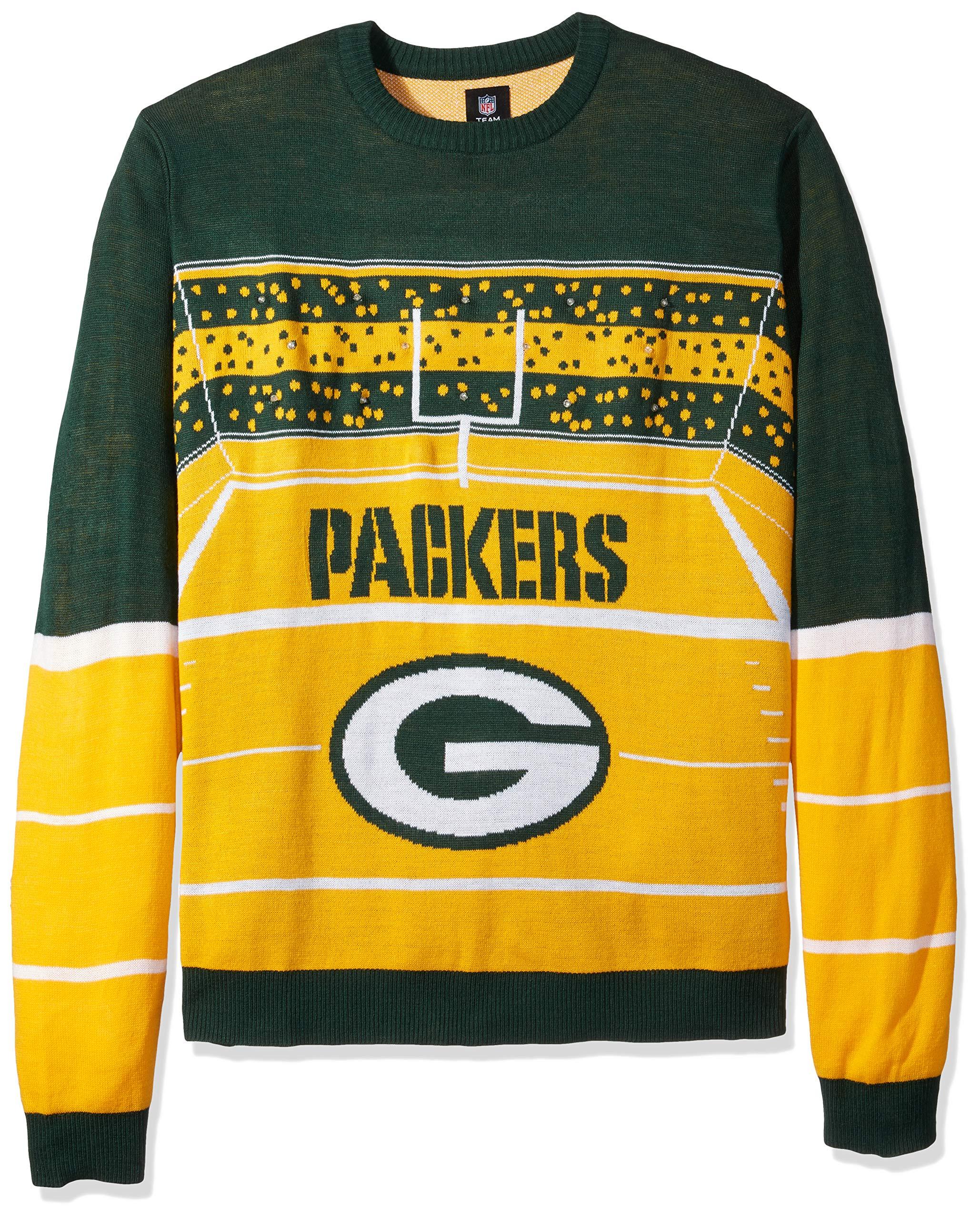 FOCO SWTCNNFSTDLU NFL Green Bay Packers Mens Stadium Light Up Crew Neck Sweaterstadium Light Up Crew Neck Sweater, Team Color, XX-Large