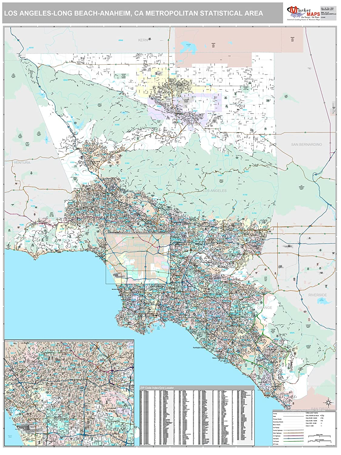 Amazon.com: MarketMAPS Los Angeles-Long Beach-Anaheim, CA ...