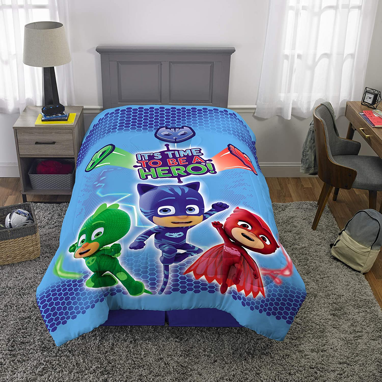 "Franco Kids Bedding Super Soft Reversible Comforter, Twin/Full Size 72"" x 86"", PJ Masks"