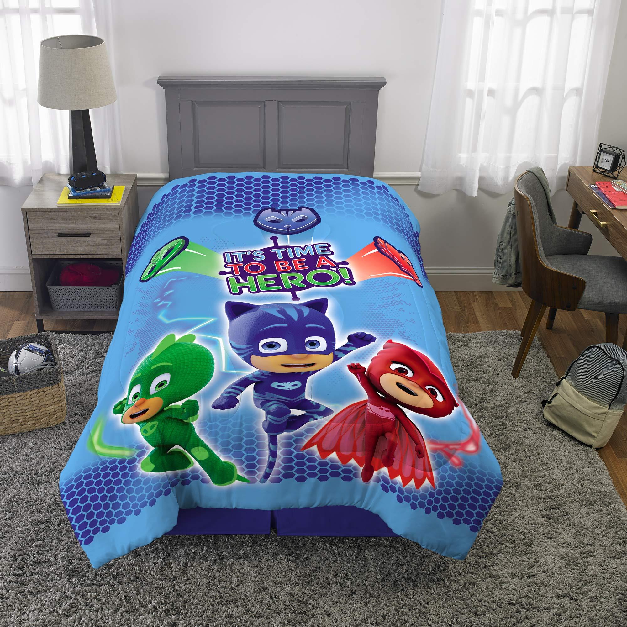 PJ Masks Kids Bedding Super Soft Microfiber Reversible Comforter, Twin/Full 72'' x 86'', Blue