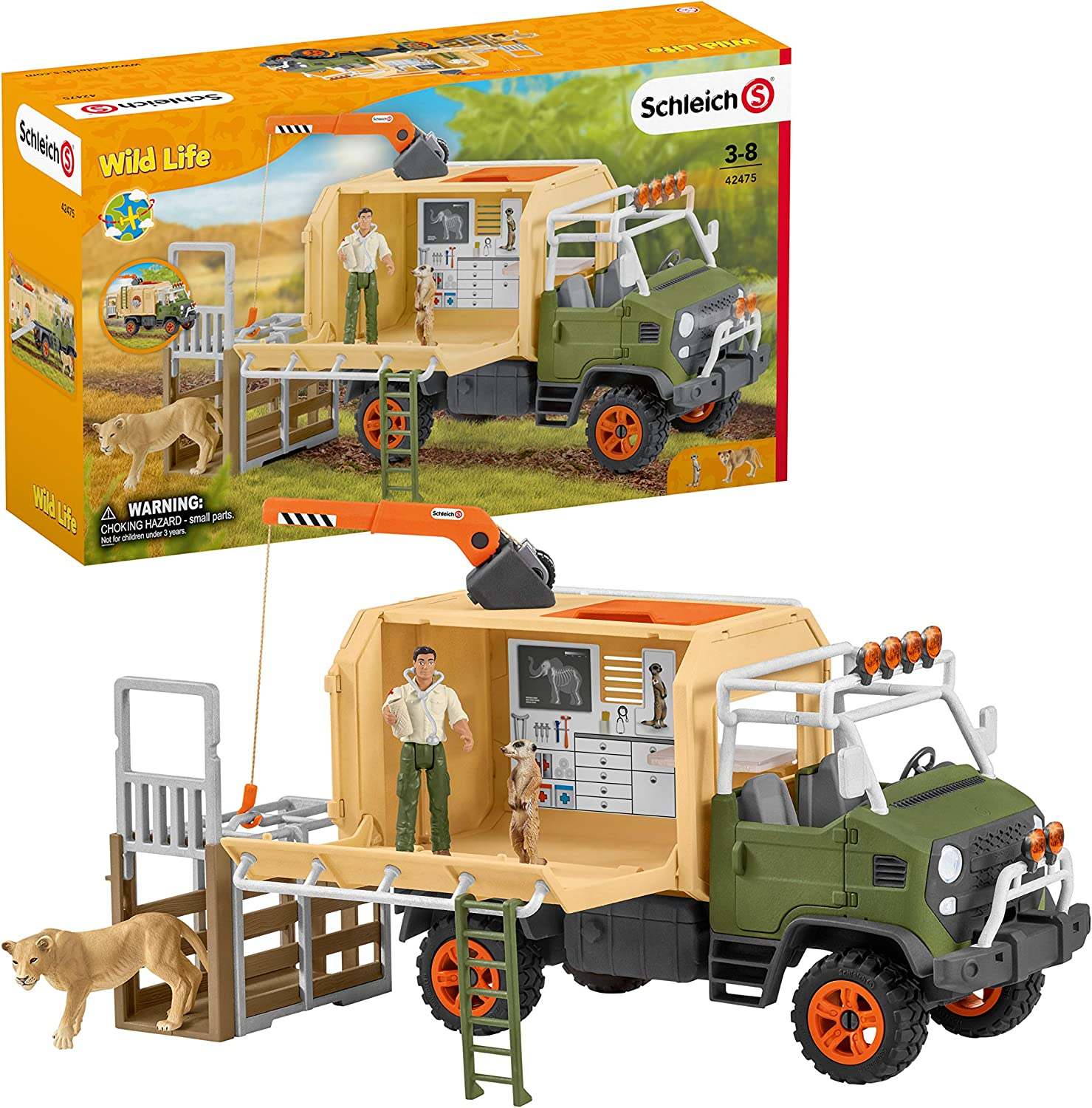 Schleich Wild Life 10-piece Animal Rescue Toy Truck with Ranger and Animals Playset for Kids Ages 3-8