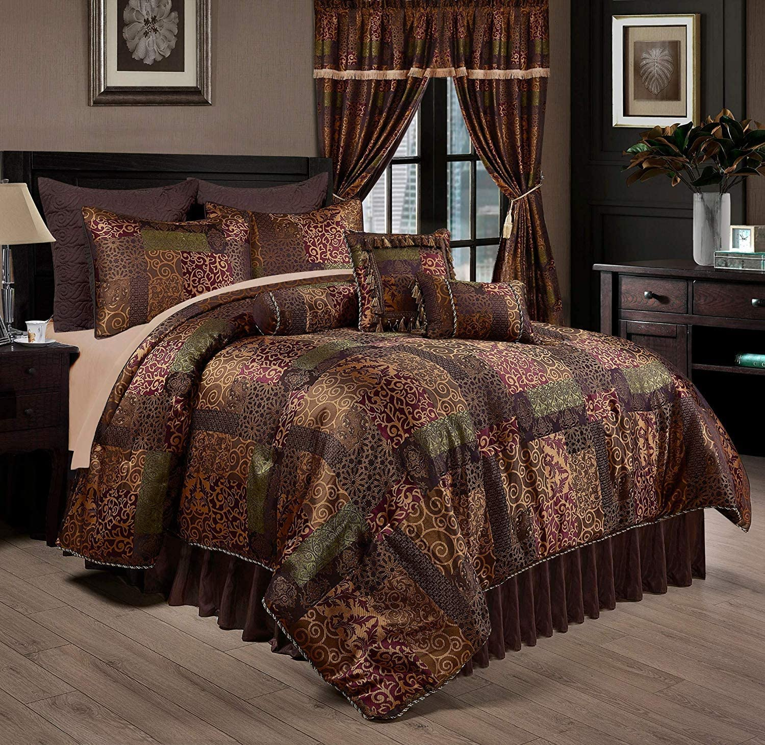 Chezmoi Collection Amelia 9-Piece Floral Jacquard Patchwork Comforter Set, King